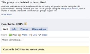 Notice to upgrade old Facebook groups